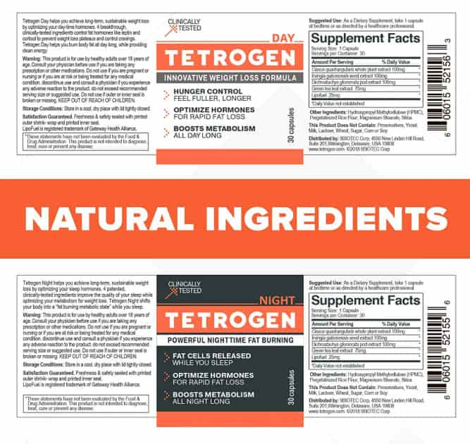 Tetrogen Ingredients